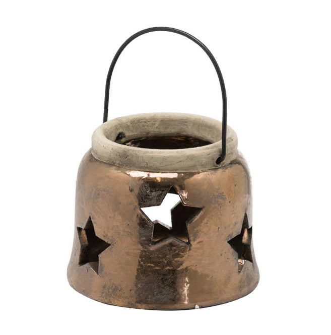 Medium ceramic bronze star lantern