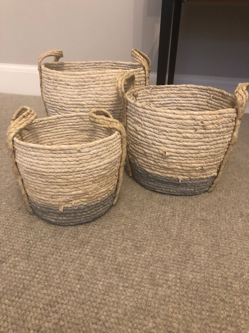 Large woven white and grey basket
