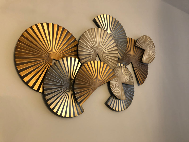 Bronze gold disc fan wall art