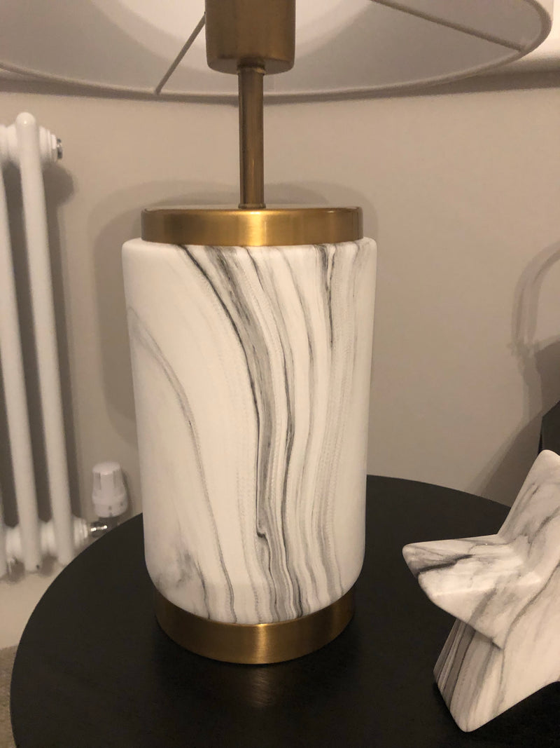 Gold marble lamp with white shade