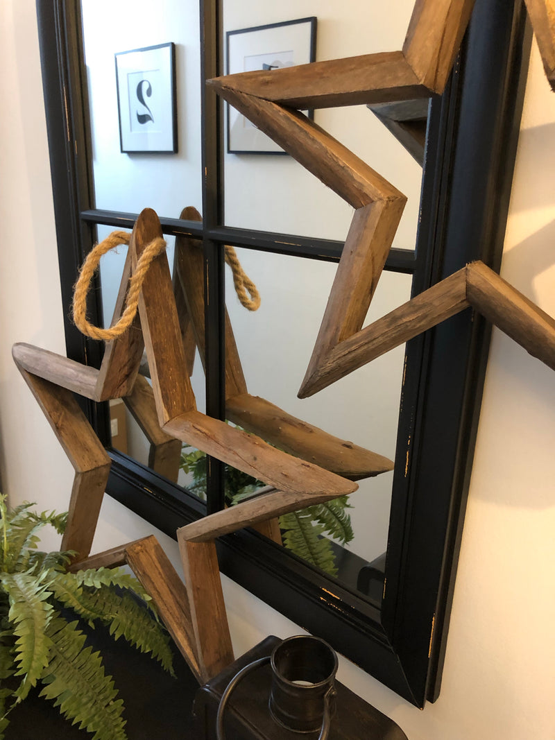 Large Rustic Wood Hanging Star