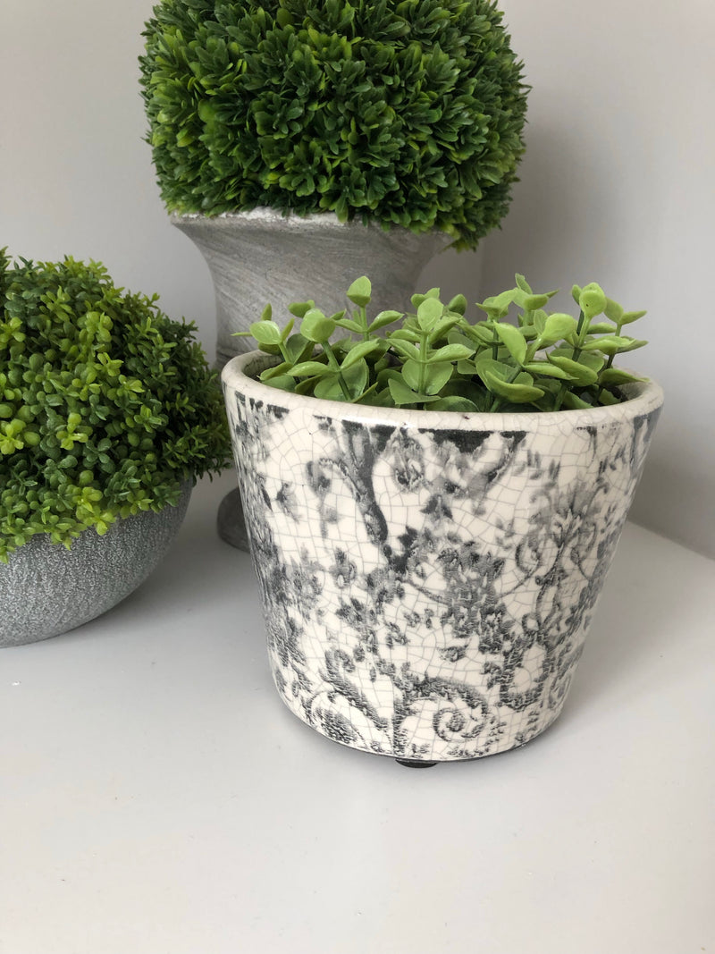 Large Black Dip Cement Planter