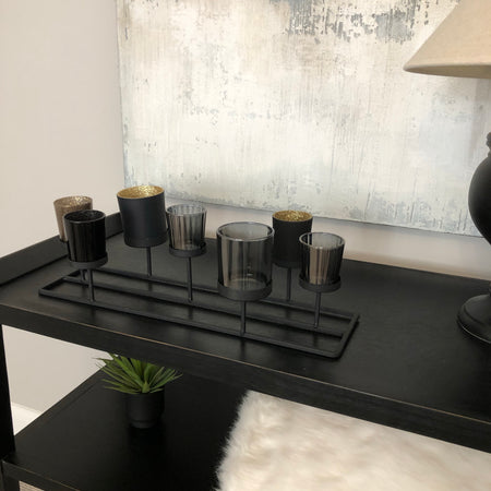 Black multi glass candle holder