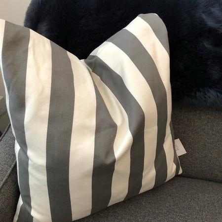Large Charcoal thick Stripe Cushion