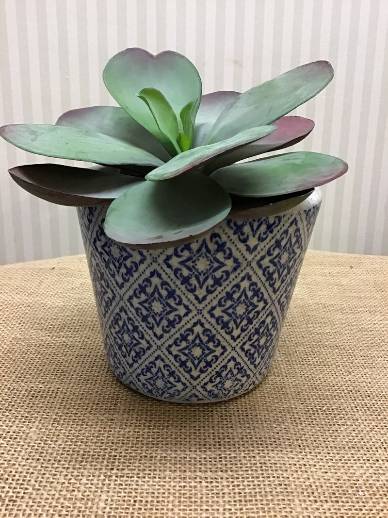 Blue ceramic dutch pot design 1