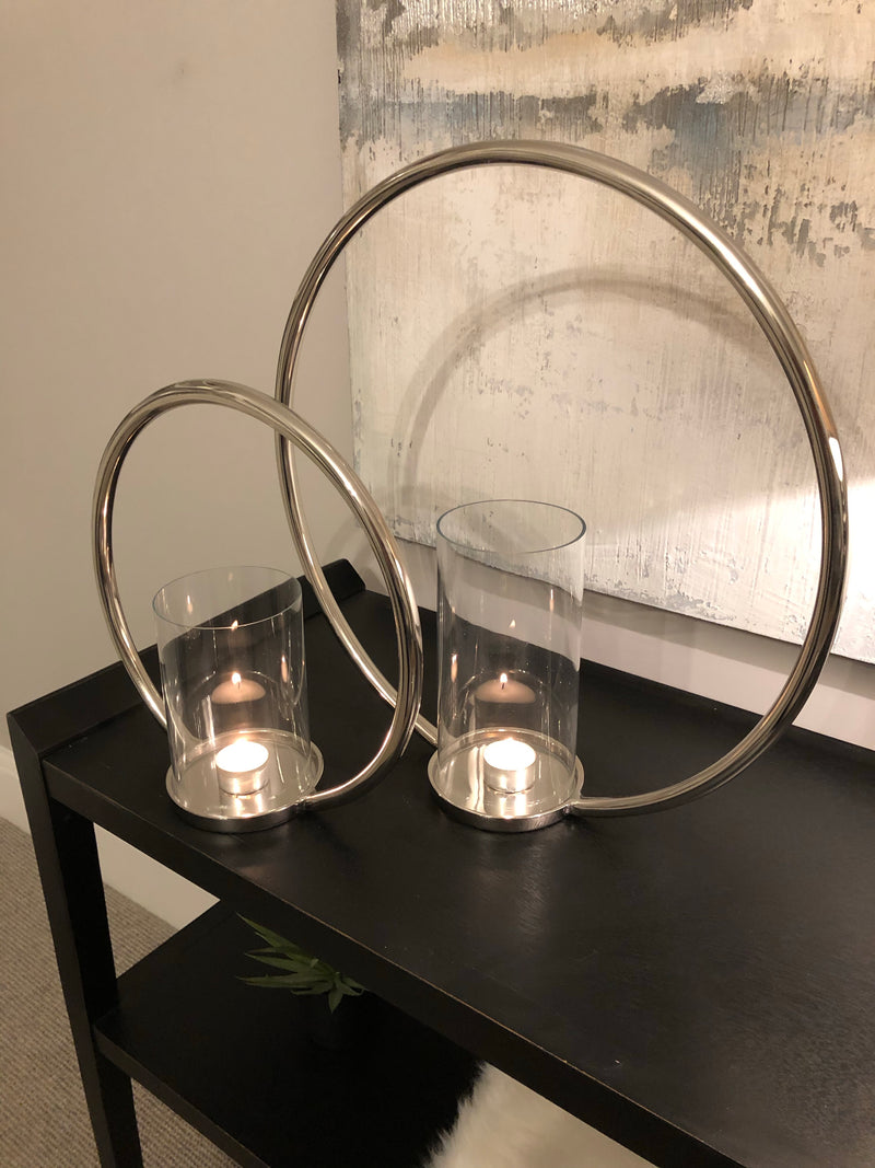 Large Round chrome nickel candle holder 45cm diameter