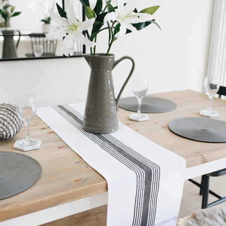 White and grey ticking stripe Table runner 180cm