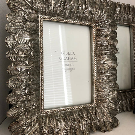 4x6 Antique Silver Feather frame