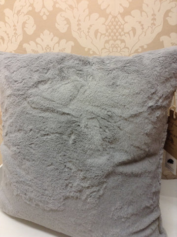 Faux rabbit cushion grey