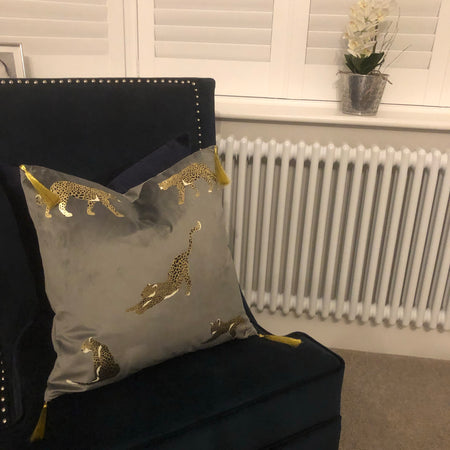 Grey velvet Feline cushion with tassels