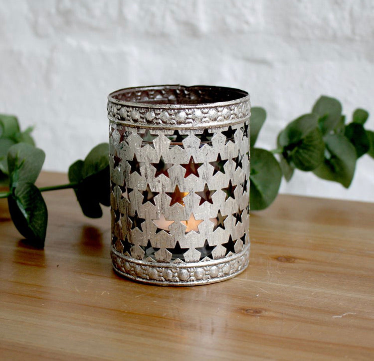 Metal silver star candle tea light holder