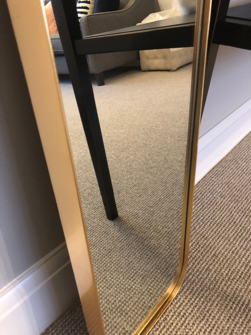 Curved Edge Rectangular gold Mirror