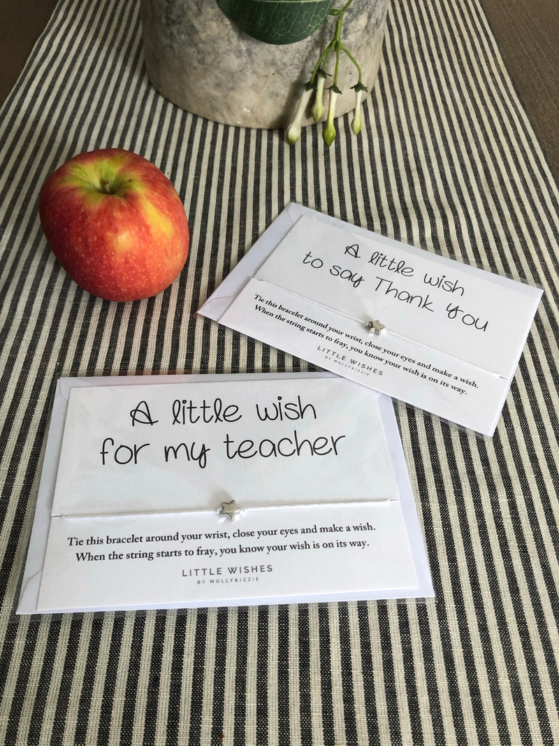 A little wish for my teacher card and bracelet