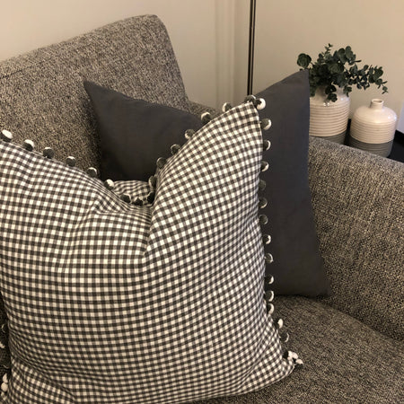 Grey Gingham PomPom cushion
