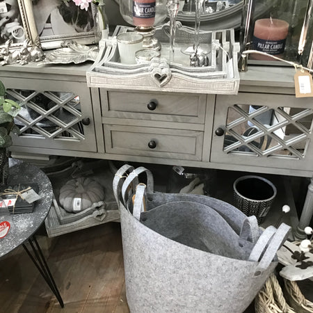 Grey console dresser with glass front