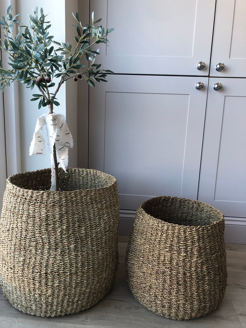 Large Seagrass barrel basket