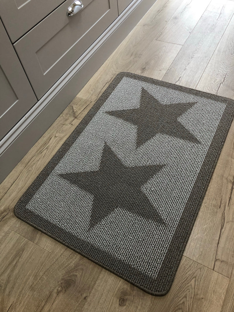 Taupe double star door mat rug 100x67