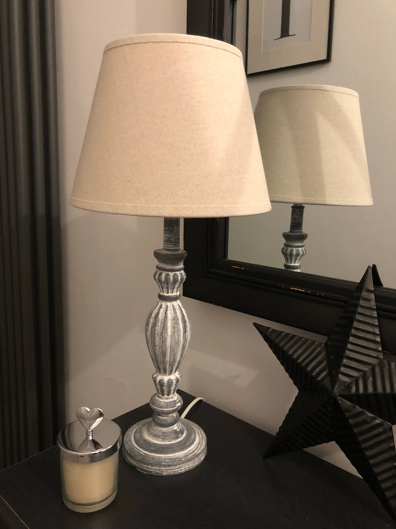 Large bulbous glass chrome lamp with herringbone grey shade