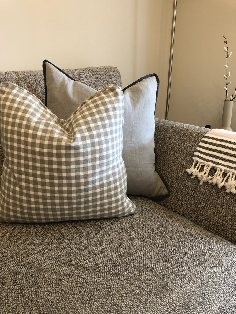 Dove grey check cushion
