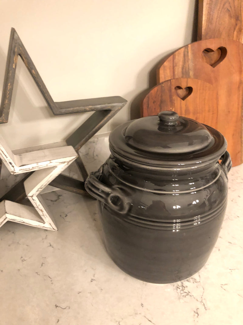 Parlane Dark Grey Miel lidded Jar with bee detail