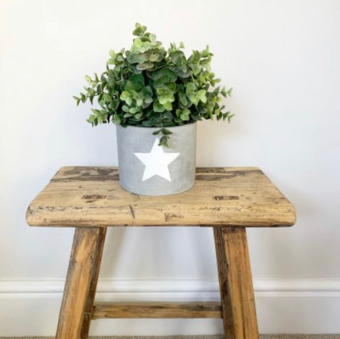 X large white star cement plant pot