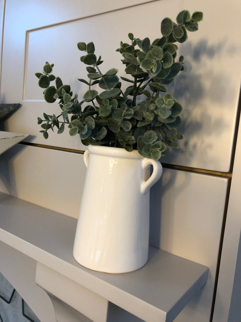 Tall White double handled Ceramic Planter