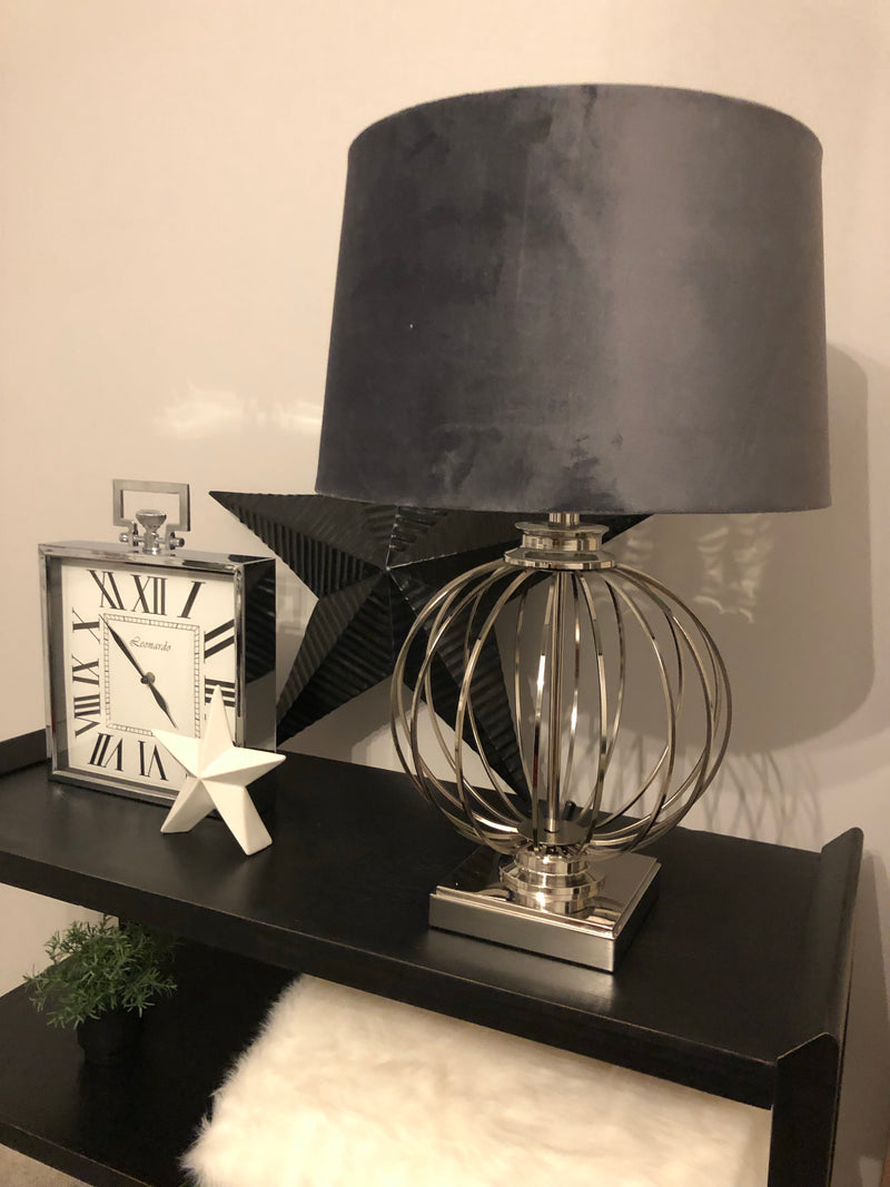 Tall marble lamp with black shade