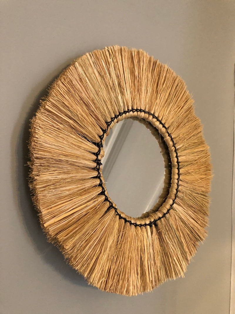 Natural grass wall mirror 30cm