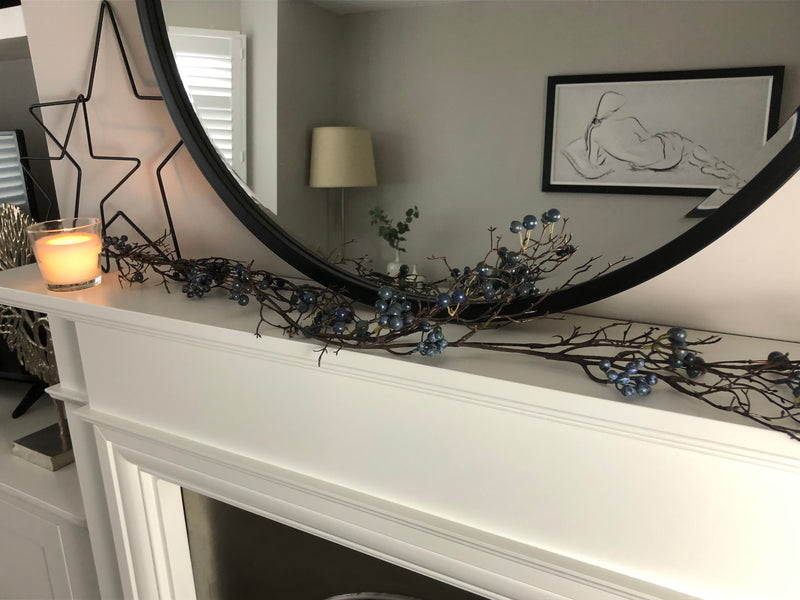 Blueberry and rustic twig garland