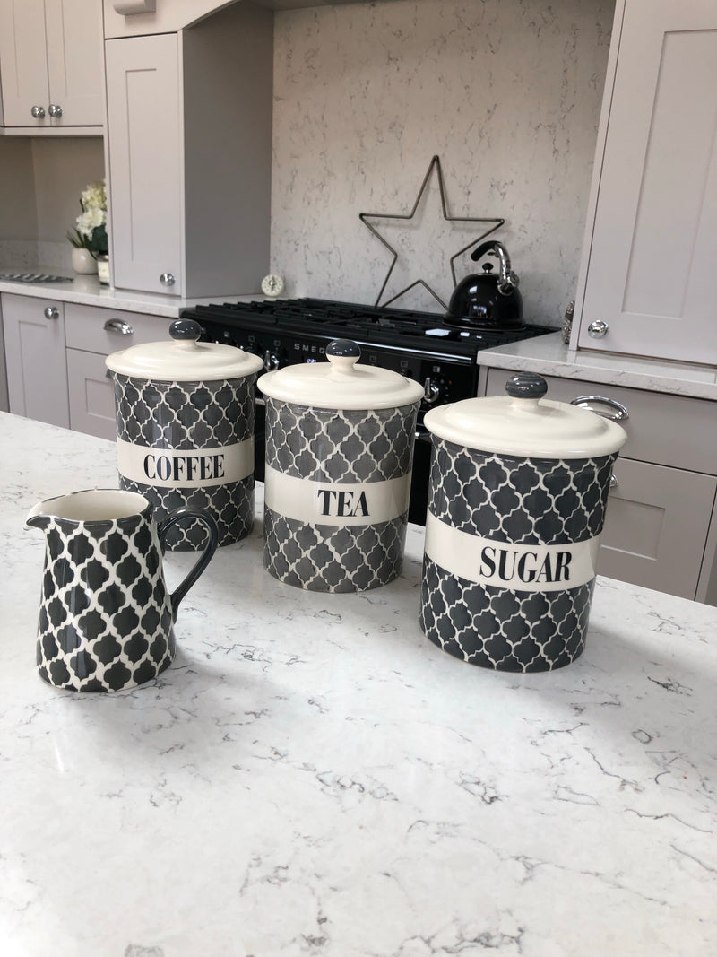 Set of 3 Grey and Off white Ceramic Kitchen tea coffee sugar Canisters