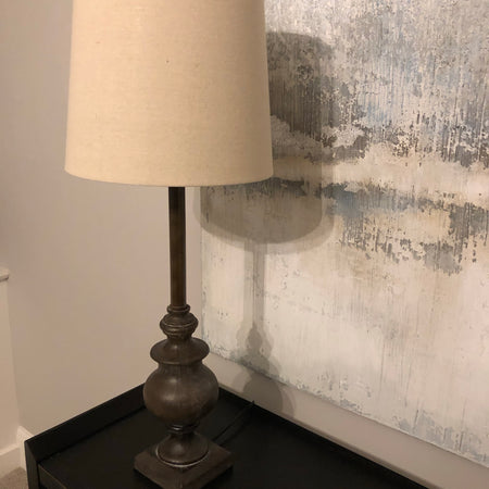 Calven antiqued wood tall table lamp with natural shade