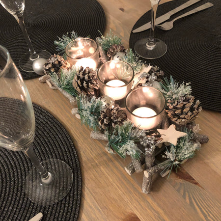 Rustic woodland triple long candle holder