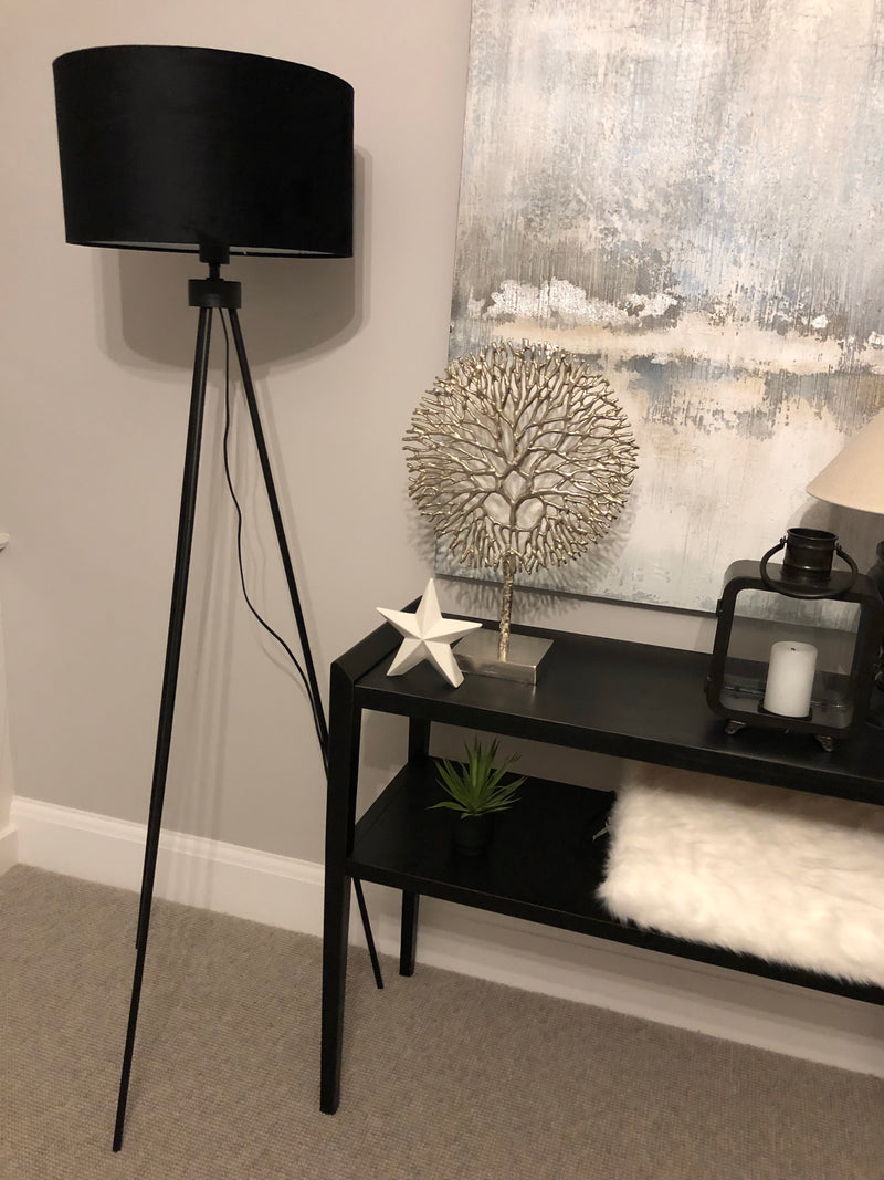 Matt black tripod floor lamp