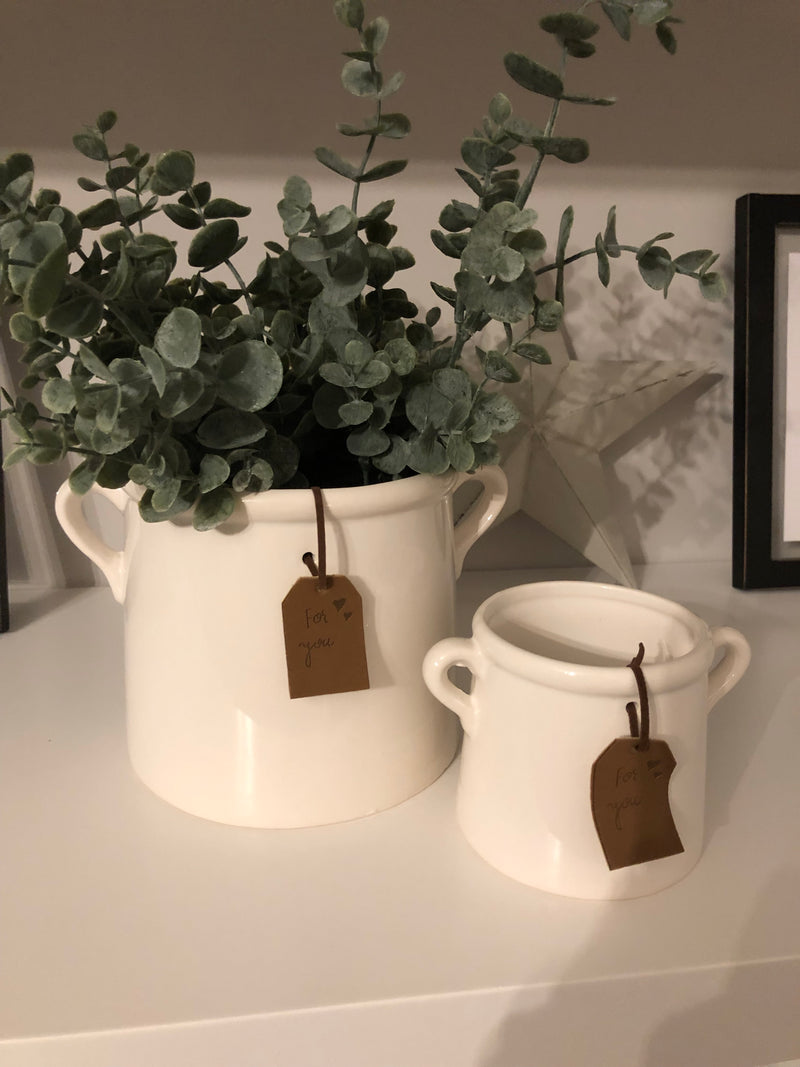 Small White Double handled Pot planter