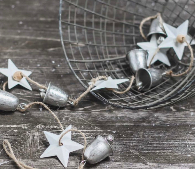 Metal bell and star garland