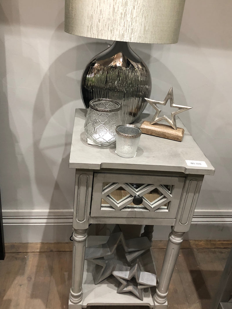 Mirrored grey accent table