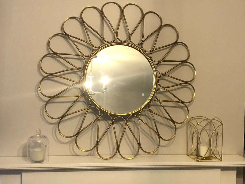 Gold petal design round wall mirror 90cm