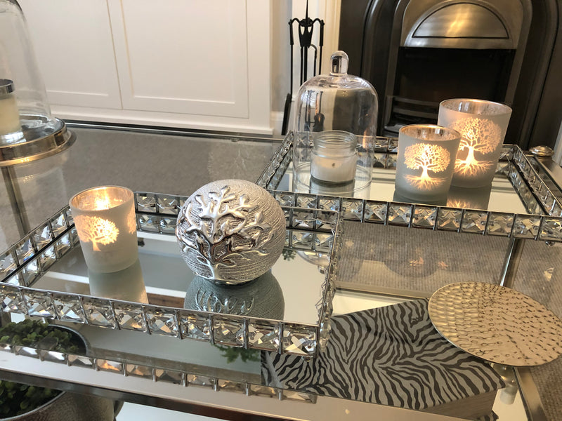 Rectangular crystal mirrored tray large