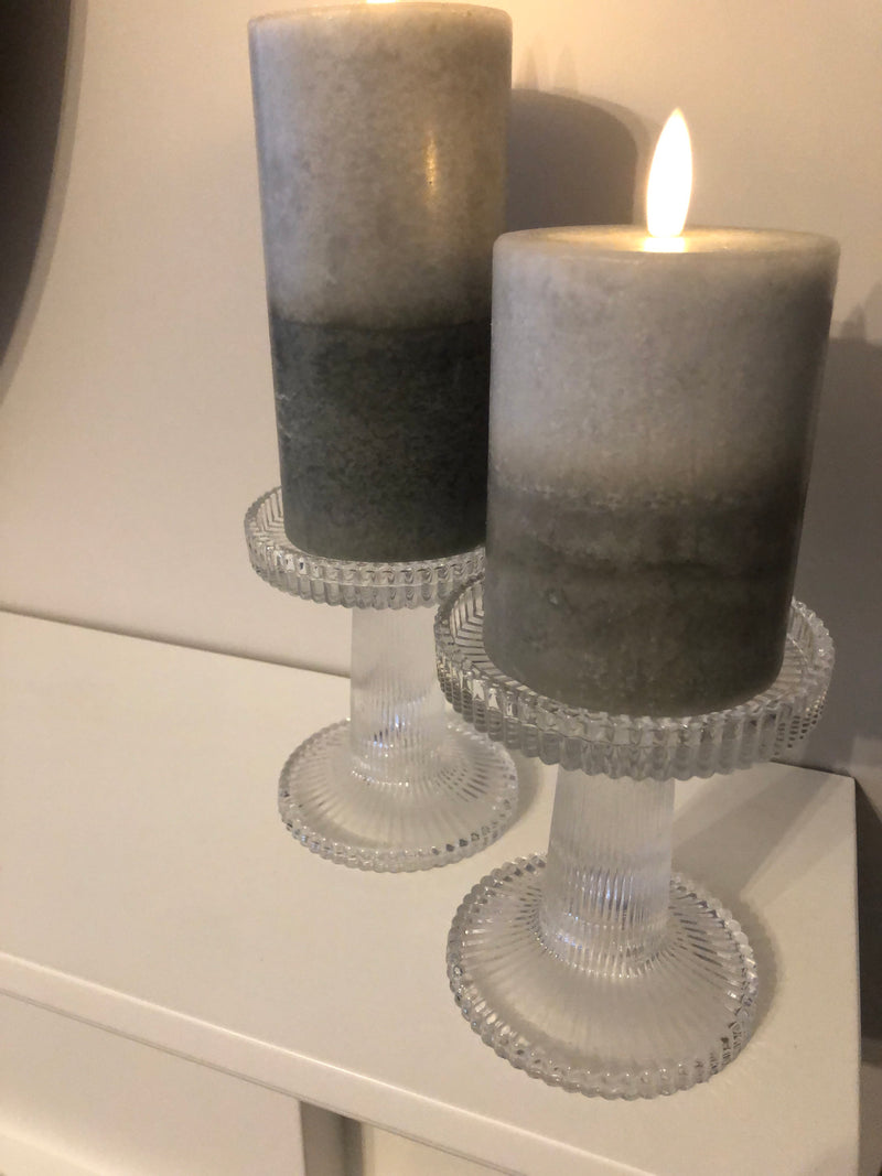 Pair of ribbed glass candle holders