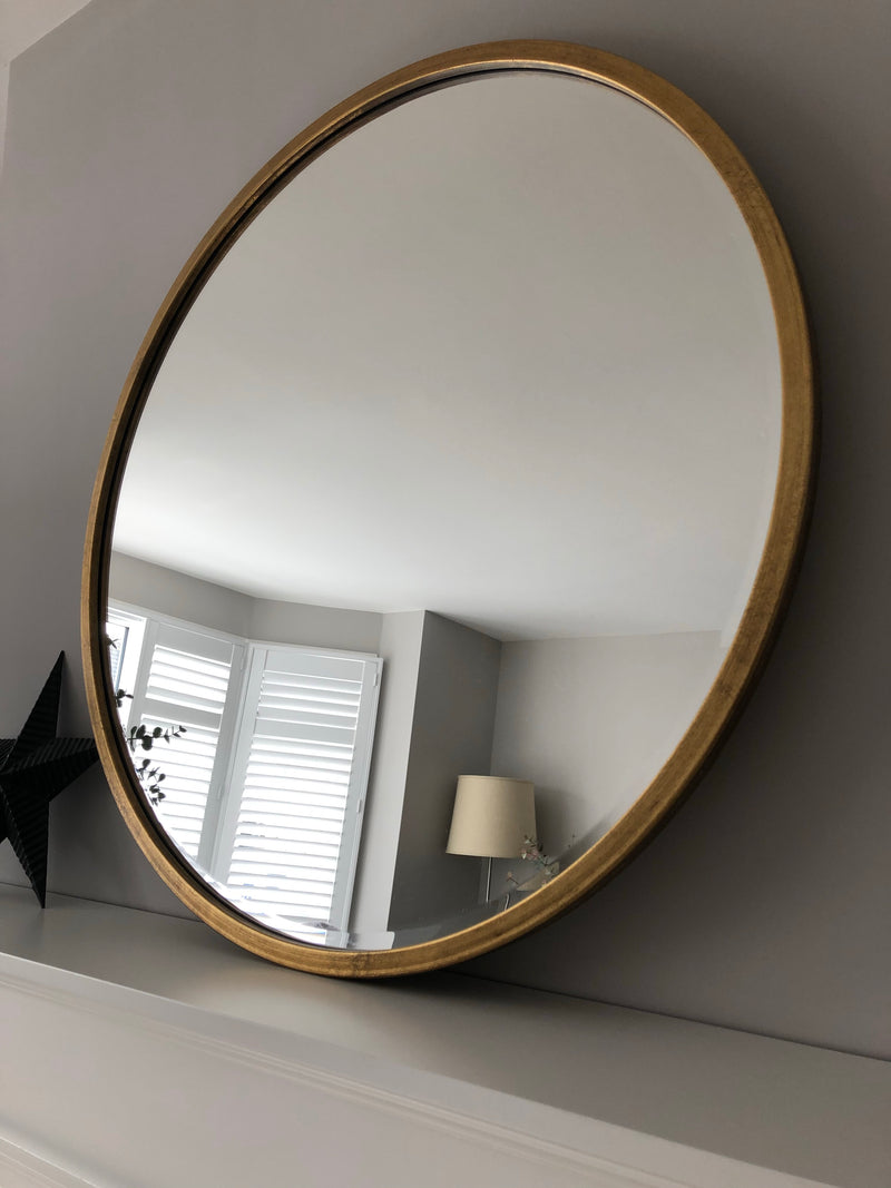 Gold round simple metal mirror 80cm