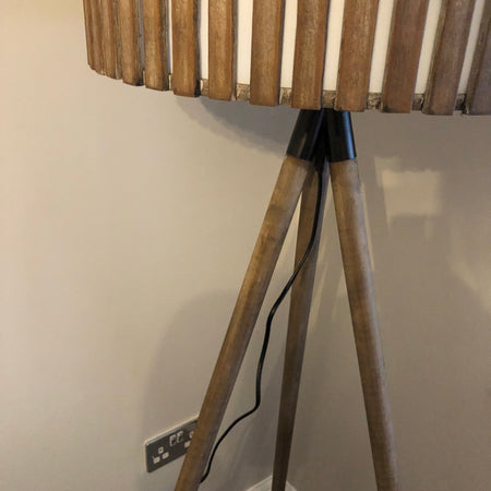 White washed wood Barrel Tripod floor standard Lamp