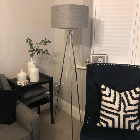Chrome tripod floor standard lamp with grey shade