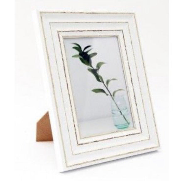 Rustic white bevelled photo picture frame 4x6