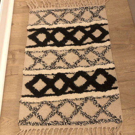 Scandi boho black and off white rug mat