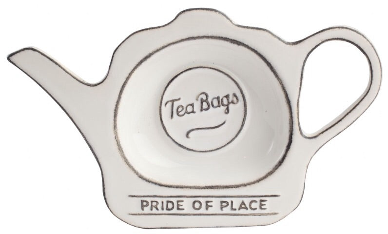 White ceramic tea bag tidy