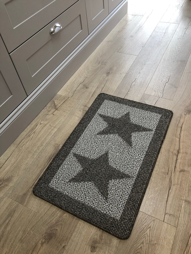 Dark taupe double star door mat rug 80x50