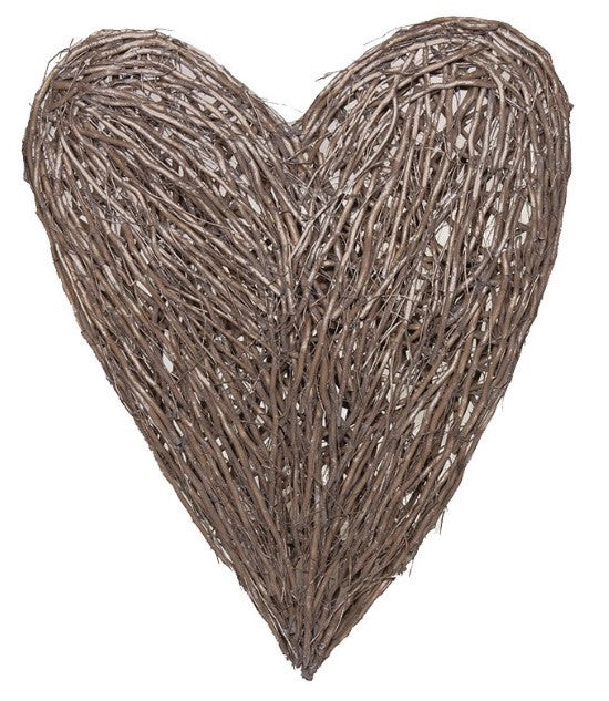 Large Grey Wash Wicker Heart
