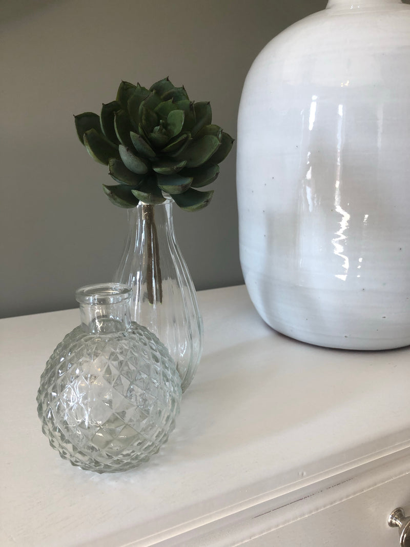 Tall ribbed glass vase