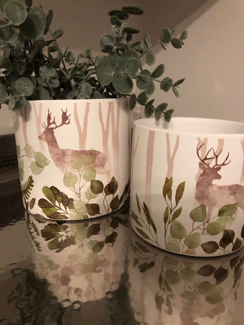 Large woodland deer pot planter