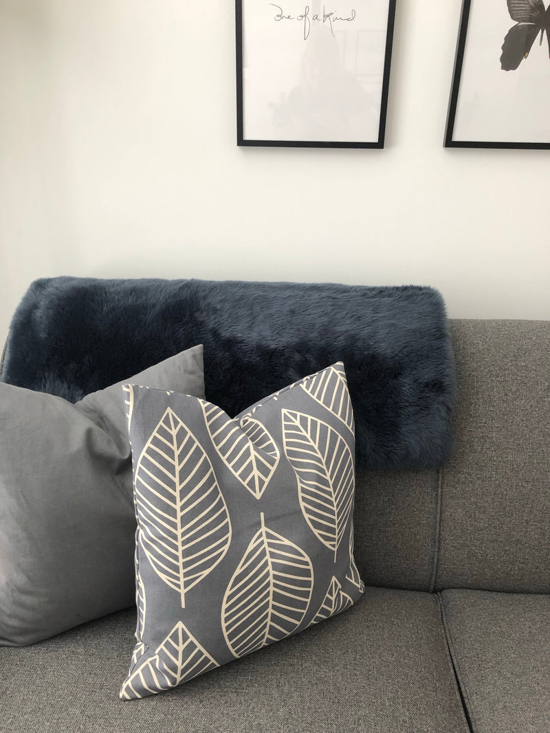 Grey printed leaf cushion